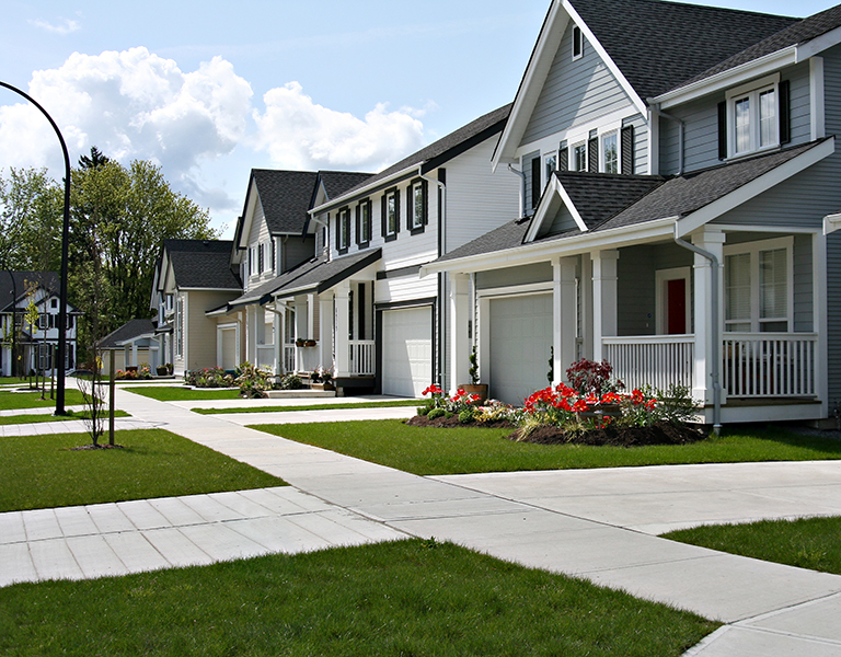 Small town residential street of new town homes.
